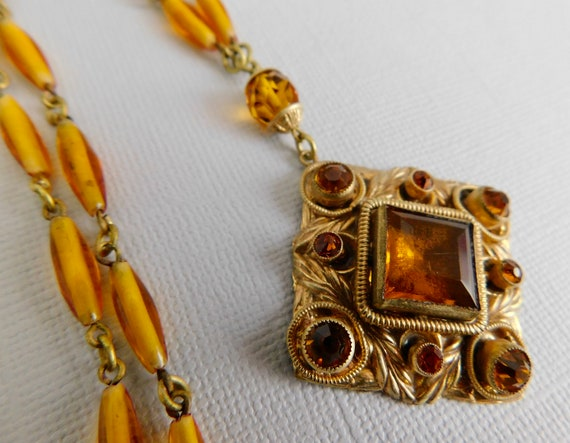 Vintage, Czech, Gold-Plated Brass, and Amber-Color