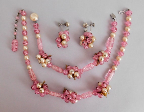 Vintage, Pink Glass and Faux Pearl 1940's Parure