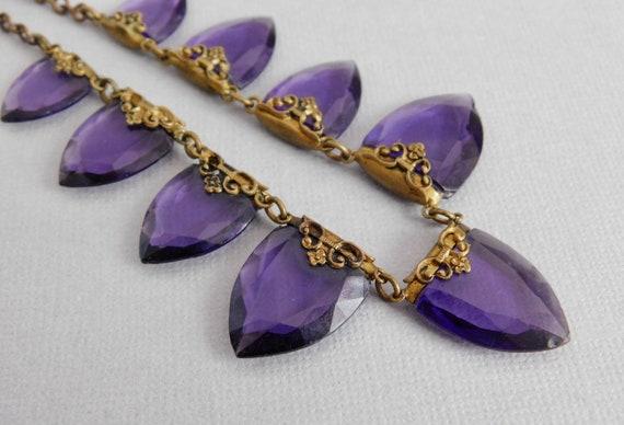Vintage Czech Bracelet and Earrings Set Reddish Glass Brass Filigree