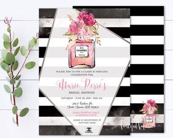 a2d418e0f28f Chanel Bridal Shower Invite - Calssy and Fabulous Bridal Shower Invitation  - Coco Chanel Bride To Be - Printable invitation - Chanel Perfume