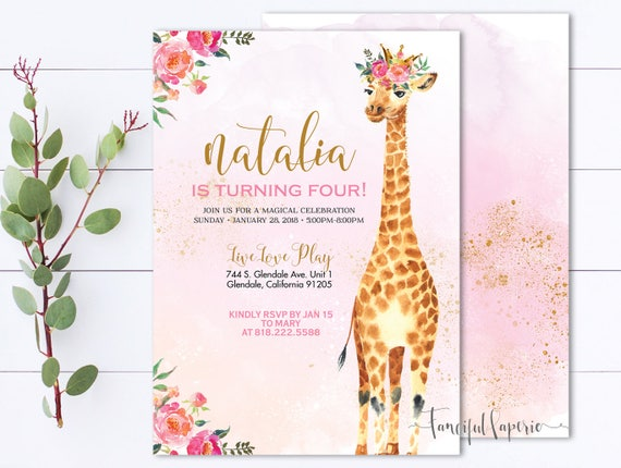 giraffe birthday party invitation giraffe invite giraffe etsy