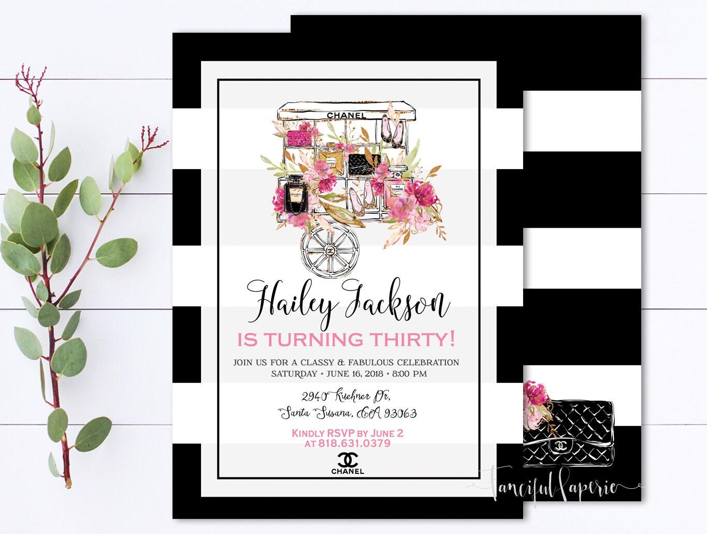 Coco Chanel Invitation 30th Birthday Invite Calssy and | Etsy