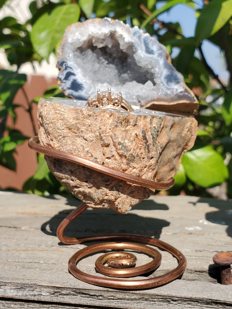 Geode KeepsakeRing Box on Custom Copper Freeform Stand