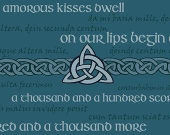 Outlander Scarf // Catullus poem // Da mi basia mille / blue
