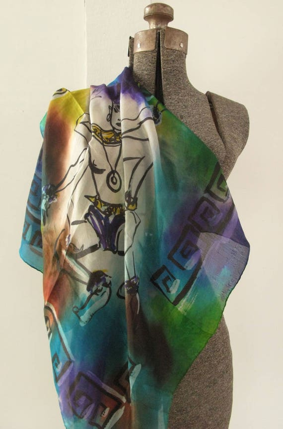 vintage 1940's hand-painted silk scarf