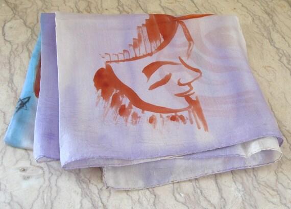 vintage 1940's hand-painted silk gossamer scarf - image 5
