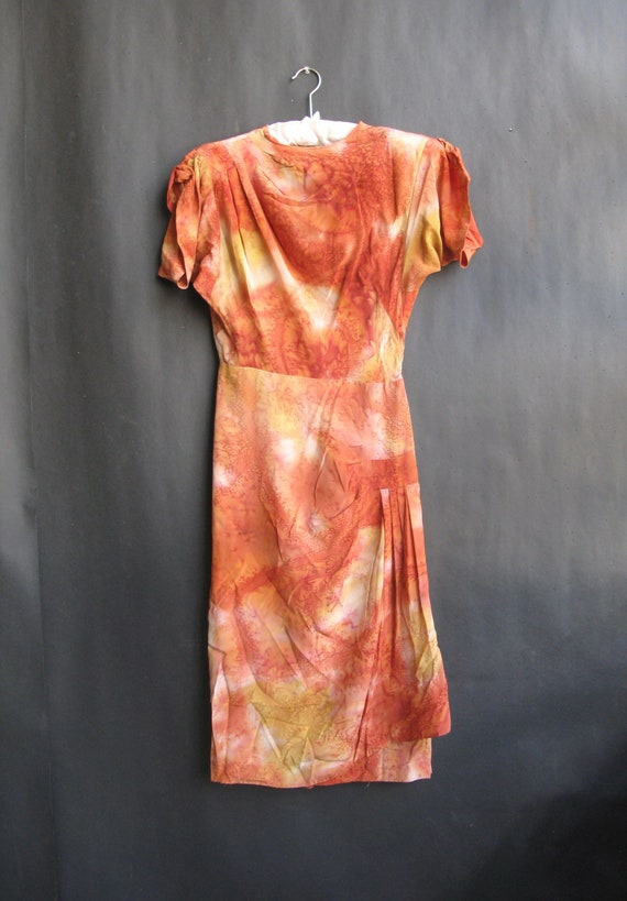 vintage 1940's hand-painted silk dress