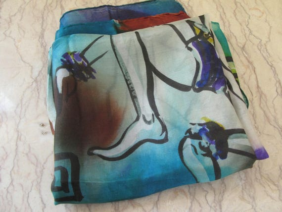 vintage 1940's hand-painted silk scarf - image 4