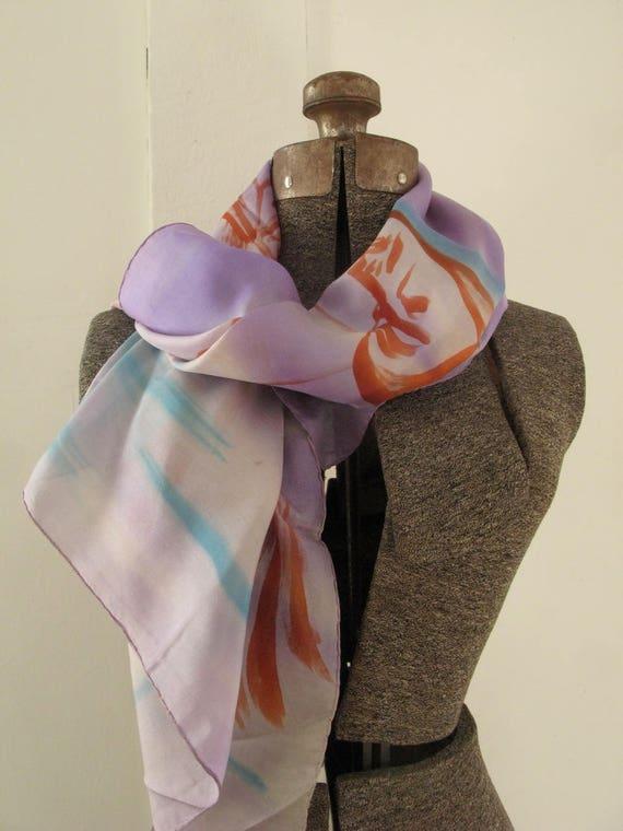 vintage 1940's hand-painted silk gossamer scarf - image 2