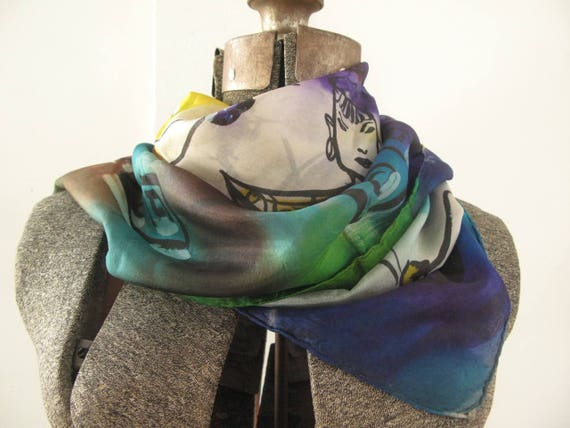 vintage 1940's hand-painted silk scarf - image 2
