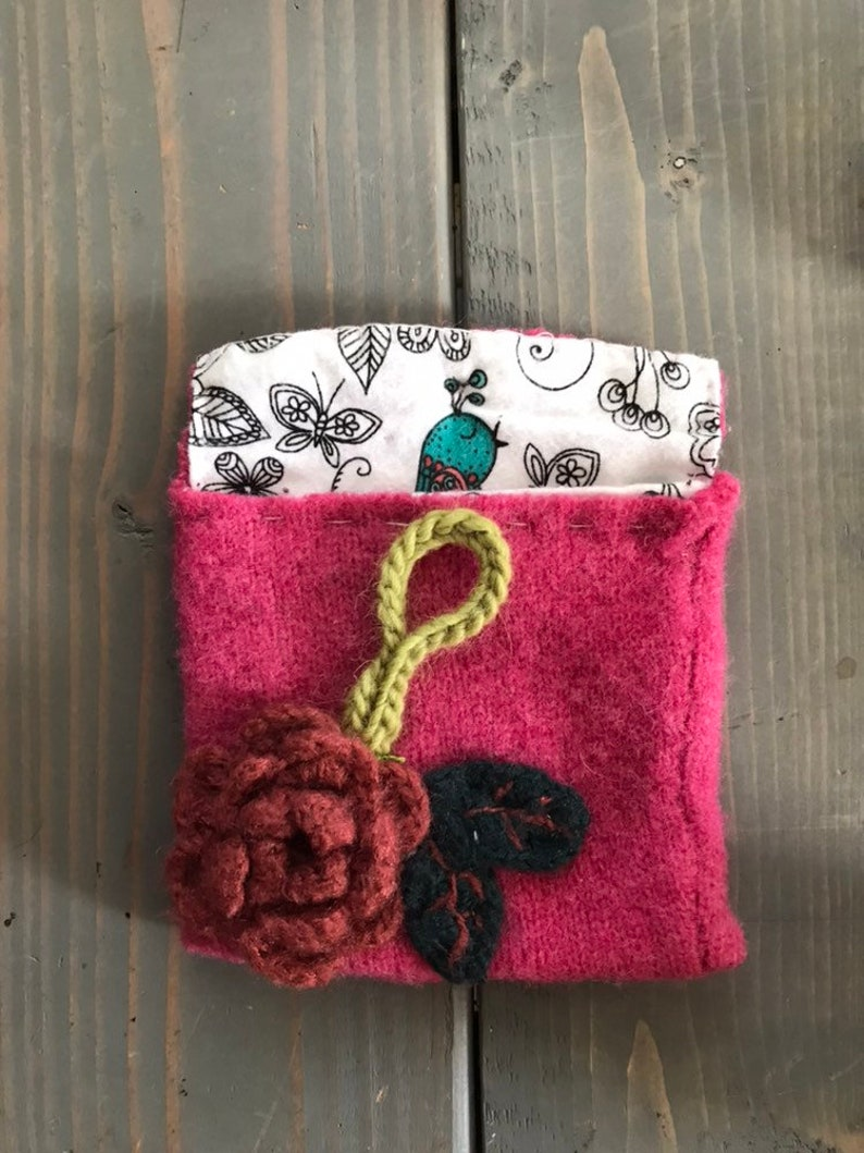 Lined Upcycled Felted Sweater Pouch