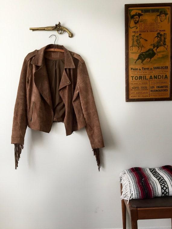 Vintage Real Suede Leather Fringe Jacket (Oversize