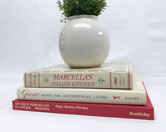 Coffee Table Books / Large Book Set / Red And Cream Coffee Table Decor /  Shelf Decor