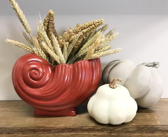 Red Decorative Vase Fall Decor Fall Shelf Decorations Etsy
