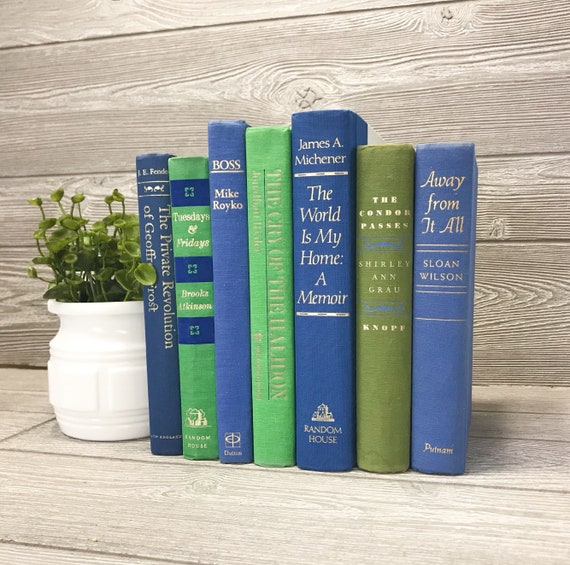 decorative book set blue and green books books for shelf etsy rh etsy com