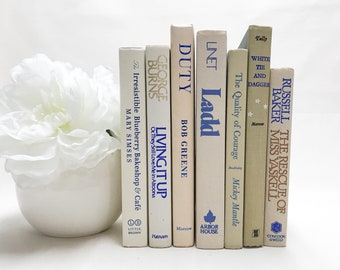 Blue and Tan Decorative Books, Shelf Decor, Books by Color