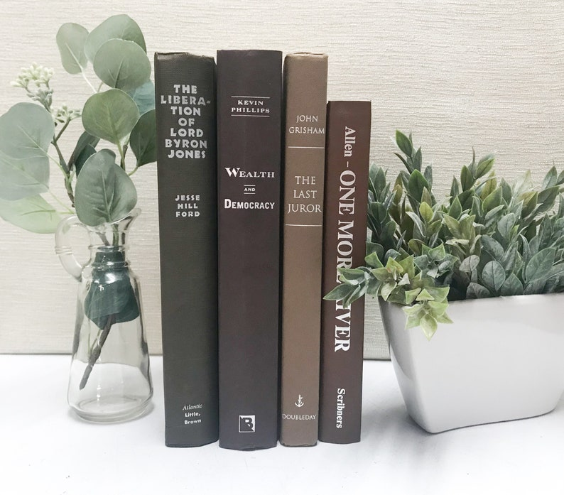 brown books decorative books for shelf decor neutral decor etsy rh etsy com