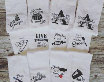 Delicieux Flour Sack Kitchen Towels, Set Of 5. Monogrammed Kitchen Towel. Funny Kitchen  Towels. Personalized Gift. Farmhouse Kitchen