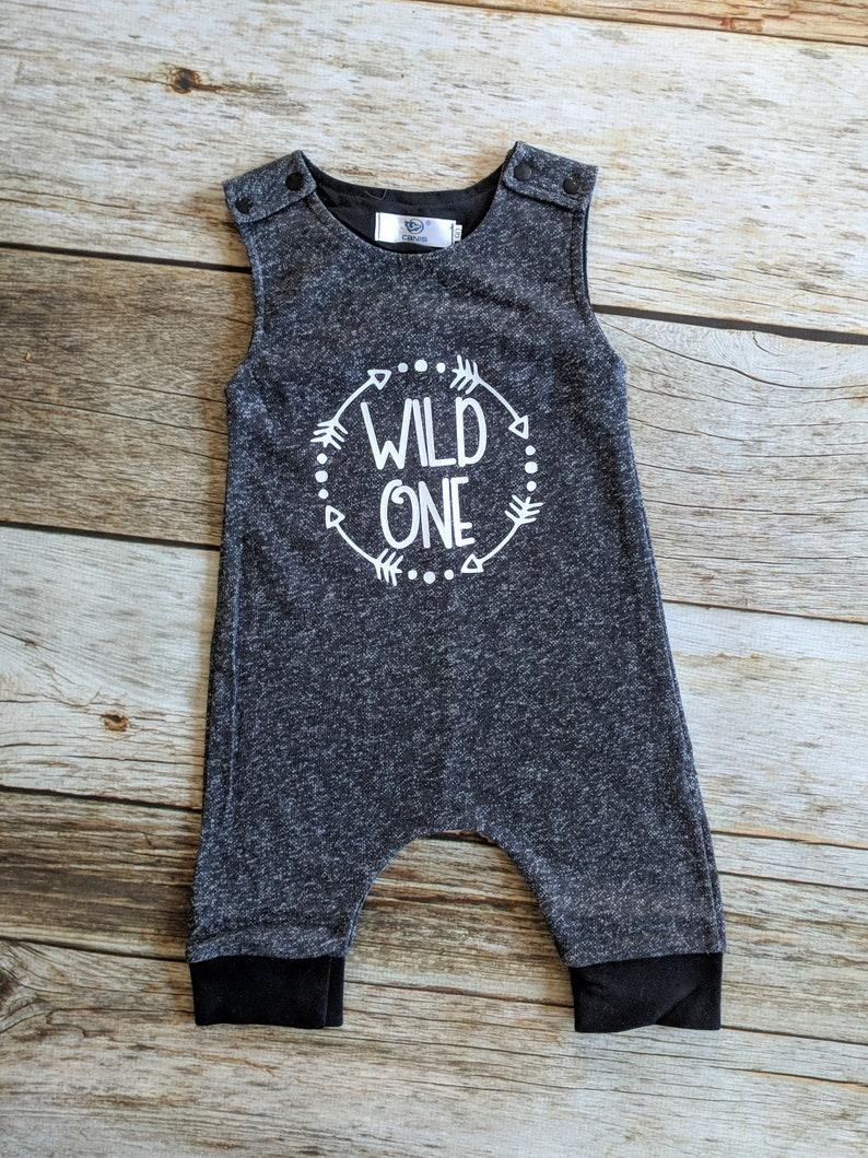 efaf5de00bd6 Wild One Romper. 1st Birthday Outfit. Wild One Shirt. Baby Boy