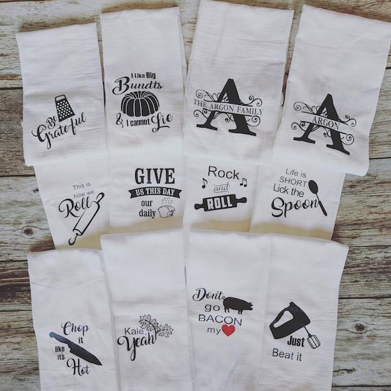 Flour Sack Kitchen Towels Set Of 5 Monogrammed Kitchen Towel Funny Kitchen Towels Personalized Gift Farmhouse Kitchen