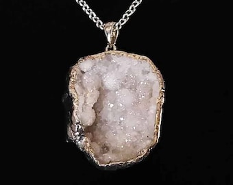 White Druzy Geode necklace and teardrop earrings