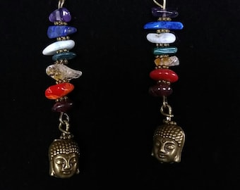 Bronze Buddhist Chakra Gemstone Chip Earrings