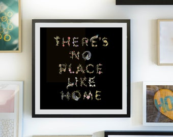 Art Print There's no place like home beautiful black floral print with birds. Wizard of Oz inspired. House warming. New Home. Not framed