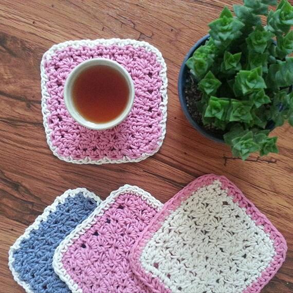 Coral Beige Coffee Coaster Crochet Pattern Coaster Crochet Etsy