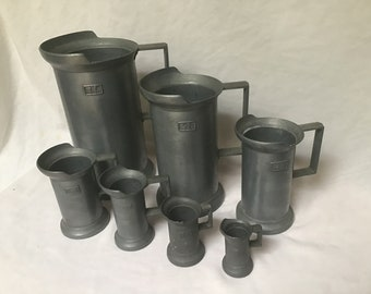Vintage Measuring Cups Pewter Measuring Containers Peltrato Pewter