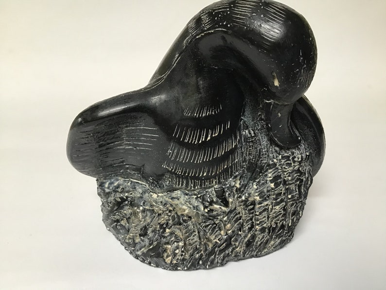Aardvark Soapstone Sculpture of Loon Duck Canadian Art Sculpture Signed Art