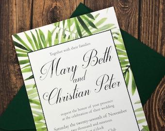 Palm Frond Wedding Invitation - Beachy, Tropical Wedding Invite