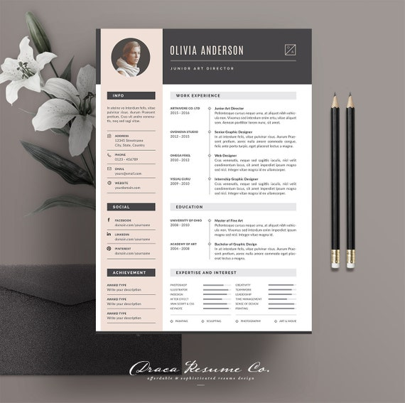 Professional Resume Template Modern CV Creative In Microsoft Word For Graphic Designer