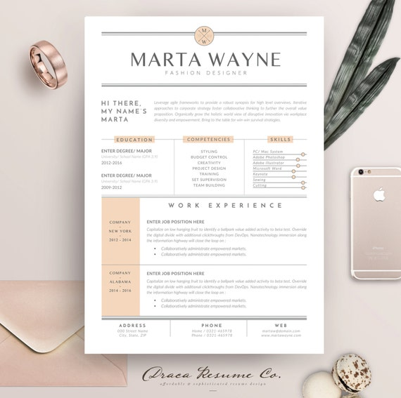 Resume template 3 pages for Fashion Designer - CV Template & Cover Letter  for MS Word - Instant Digital Download | Marta Wayne