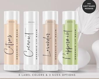 Printable Lip Balm Label, Lip Balm Stiker Template, DIY Lip Balm Wrapper Label, Cosmetic Product Packaging Label - CORJL LA022 (Basel)