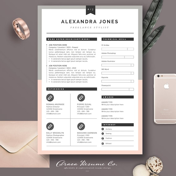 Resume Template 3pages For Freelancer Stylist CV