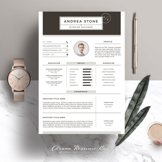 Resume Template 3pages for Interior Designer CV Template & | Etsy