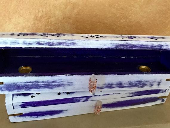 Regal Hand Carved Wooden Coffin Incense Stick Cone Burner Holder with Storage