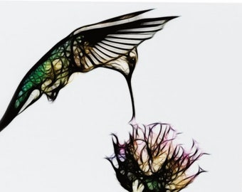 Stylized Hummingbird - single blank note card, Gifts for her, Gifts for mom, Gifts for bird lovers, Gifts for bird lovers
