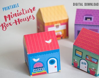 Printable favor box house set, miniature houses, souvenir box, digital downloads, printable box, easter favors, gifts for kids package