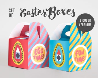 Printable modern Easter box set, egg holders, decor easter boxes, easter decor, Egg time fun time, striped boxes, easter baskets, red easter