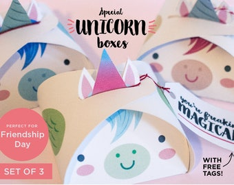 Unicorn favor boxes, Instant download printable boxes, favor box, unicorn box, friendship gift, unicorn party printables, unicorn box