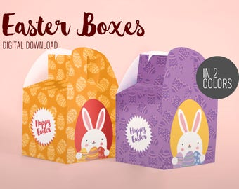 Printable cute Easter box set, bunny easter box, egg holders, decor easter boxes, easter decor, bunny easter, bunny boxes, easter baskets