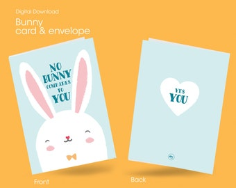 Easter Printable Card, bunny card, Gift or Present for Wife, Husband, love Boyfriend, Girlfriend, digital, love card, Funny, Easter card