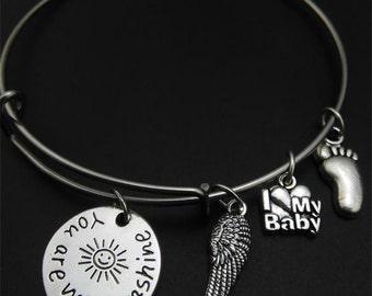 You are my Sunshine Bracelet, Angel Wing, I love my baby, baby foot, bangle bracelet, you are my sunshine, Christmas, Stocking Stuffer
