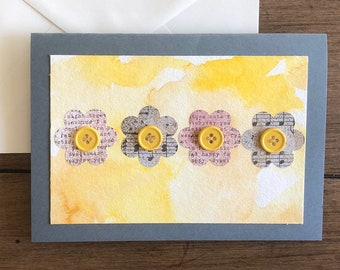 Rustic Floral Blank Greeting Card