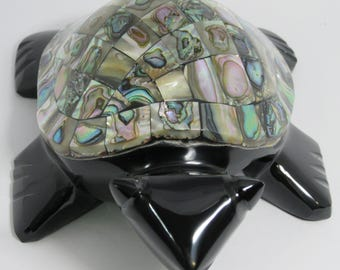 Abalone shell inlaid black obsidian turtle