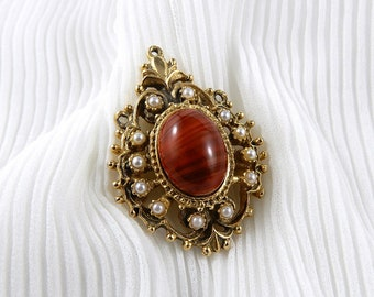 A Bracs brooch with faux tigers eye and pearls, quality costume jewellery, stunning vintage brooch, unique brooch with a mid century look.