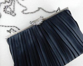 Vintage black fabric clutch purse/handbag with silver tone decorative shell shape clasp, evening purse, old purse, Mid century purse.