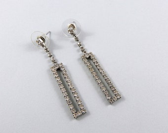 Gorgeous sparkling rectangular earrings, sixties inspired drop and dangle earrings, evening earrings, retro earrings, vintage earrings.
