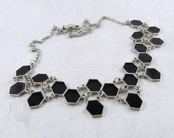 Black statement bib necklace, 90's necklace, recycled necklace, collar necklace, geometric necklace, hexagon necklace.
